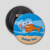 Fish and Bait in Love Bottle Opener