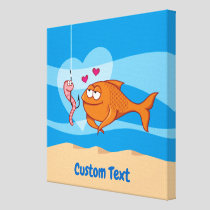 Fish and Bait in Love Canvas Print