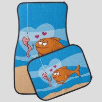 Fish and Bait in Love Car Floor Mat