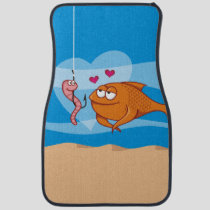 Fish and Bait in Love Car Mat