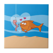 Fish and Bait in Love Ceramic Tile