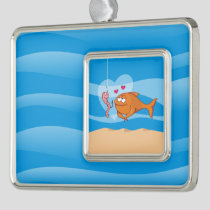 Fish and Bait in Love Christmas Ornament