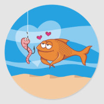 Fish and Bait in Love Classic Round Sticker