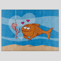 Fish and Bait in Love Cutting Board