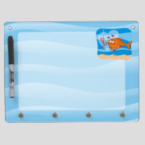 Fish and Bait in Love Dry Erase Board With Keychain Holder