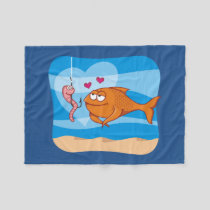 Fish and Bait in Love Fleece Blanket