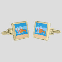 Fish and Bait in Love Gold Cufflinks