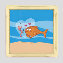 Fish and Bait in Love Gold Finish Lapel Pin
