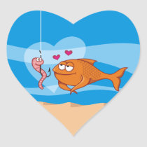 Fish and Bait in Love Heart Sticker