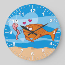 Fish and Bait in Love Large Clock