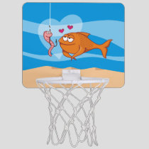 Fish and Bait in Love Mini Basketball Hoop