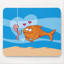 Fish and Bait in Love Mouse Pad