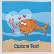 Fish and Bait in Love Napkin
