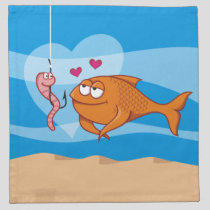 Fish and Bait in Love Napkin