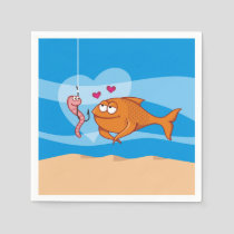 Fish and Bait in Love Napkins
