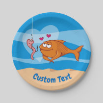 Fish and Bait in Love Paper Plate