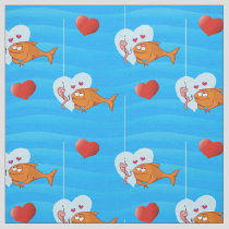 Fish and Bait in Love Pattern Fabric