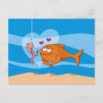 Fish and Bait in Love Postcard