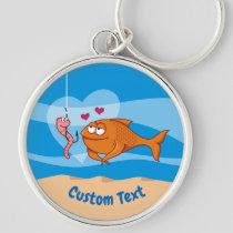 Fish and Bait in Love Premium Round Keychain