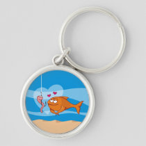 Fish and Bait in Love Premium Round Keychain