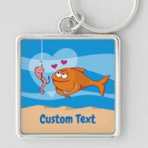 Fish and Bait in Love Premium Square Keychain