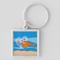 Fish and Bait in Love Premium Square Keychain
