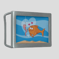 Fish and Bait in Love Rectangular Belt Buckle