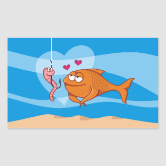 Fish and Bait in Love Rectangular Sticker