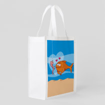 Fish and Bait in Love Reusable Grocery Bag