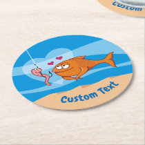 Fish and Bait in Love Round Paper Coaster
