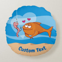 Fish and Bait in Love Round Pillow