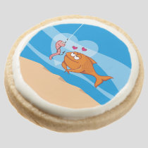 Fish and Bait in Love Round Shortbread Cookie
