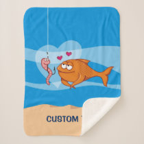 Fish and Bait in Love Sherpa Blanket