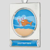 Fish and Bait in Love Silver Plated Banner Ornament