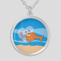 Fish and Bait in Love Silver Plated Necklace