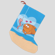 Fish and Bait in Love Small Christmas Stocking