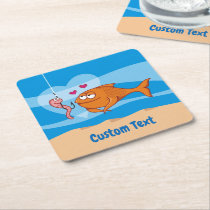 Fish and Bait in Love Square Paper Coaster