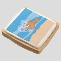 Fish and Bait in Love Square Shortbread Cookie