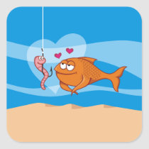 Fish and Bait in Love Square Sticker