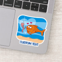 Fish and Bait in Love Sticker