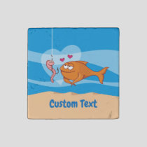 Fish and Bait in Love Stone Magnet