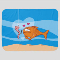 Fish and Bait in Love Stroller Blanket