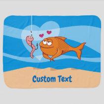 Fish and Bait in Love Stroller Blanket