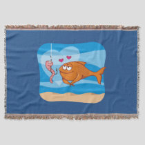 Fish and Bait in Love Throw Blanket