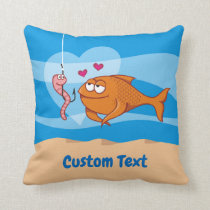 Fish and Bait in Love Throw Pillow