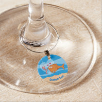 Fish and Bait in Love Wine Glass Charm