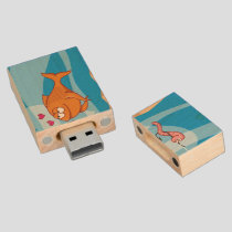Fish and Bait in Love Wood Flash Drive