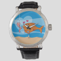 Fish and Bait in Love Wrist Watch