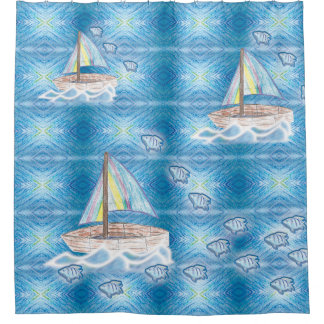 fish and boat shower curtain
