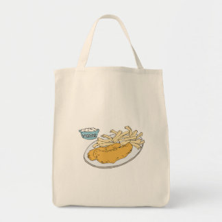 fish and chips canvas bag